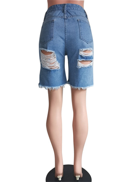 Hollow Out Denim Shorts