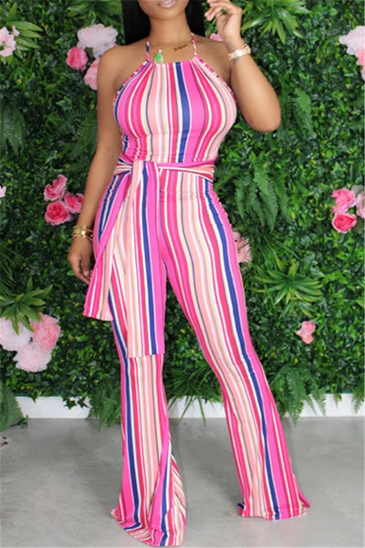 Stripe Halted Wrap Flare Jumpsuit