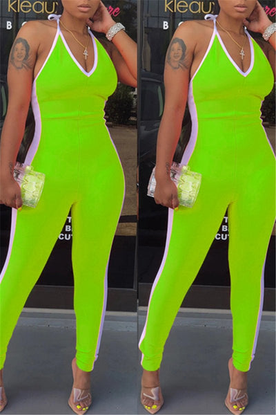 Color Splicing V Neck Halted Jumpsuit
