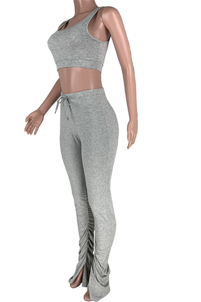 Solid Color Tank& Ruched Legs Pants Sets