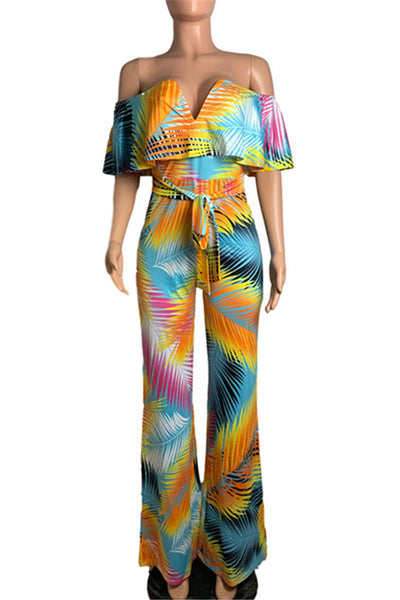 Boho Style Printed Off Shoulder Jumpsuit