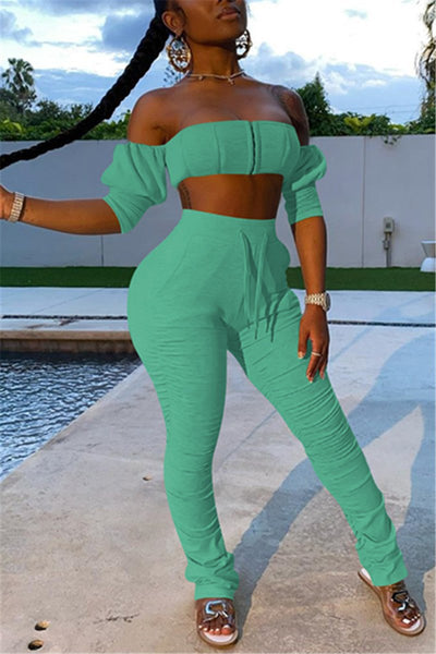 Solid Color Tube& Ruched Pants Sets