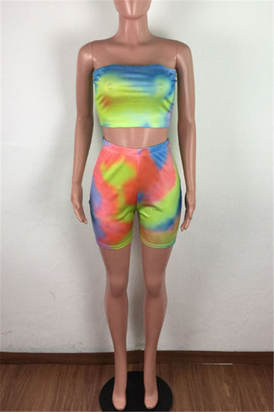 Tie Dye Tube& Shorts Sets