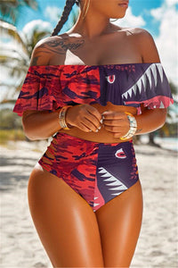 Color Splicing Flounce Swimwear Sets
