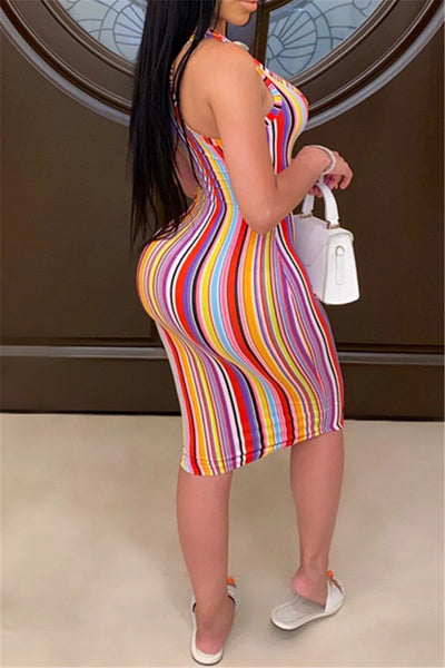 Rainbow Striped V Neck Cami Dress