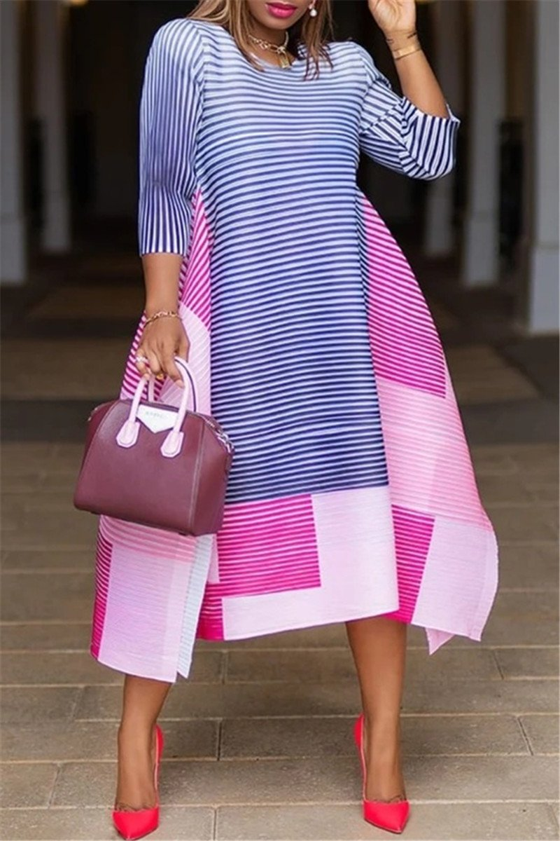 Color Splicing Stripe Split Dress