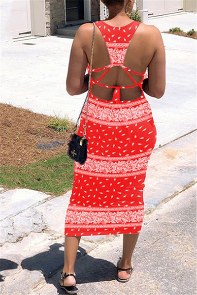 Printed Back Bandage Maxi Dress