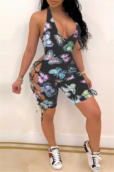 Butterfly Printed Bandage Romper