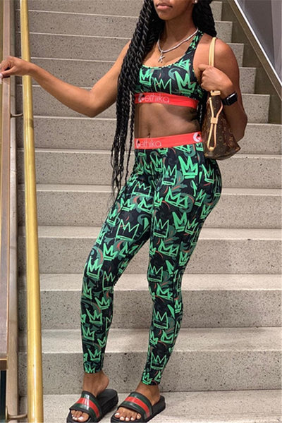 Printed Cami& Pants Sporty Sets