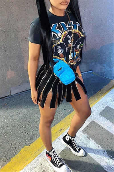 Cartoon Printed Zipper Splicing Dress