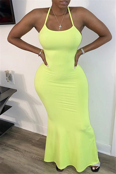 Solid Color Fishtail Maxi Dress
