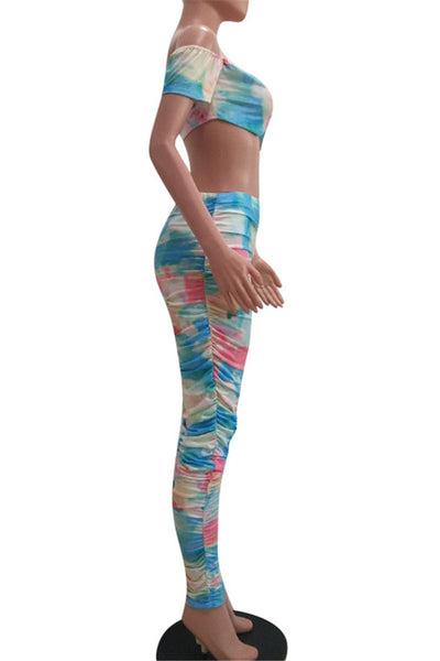Tie Dye Ruched Tube Sets