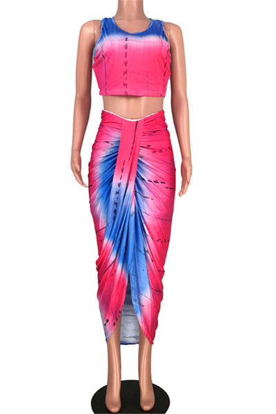 Tie Dye Tank& Skirt Split Sets