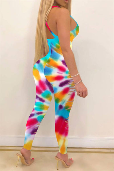 Color Changing Distressed Cami Jumpsuit