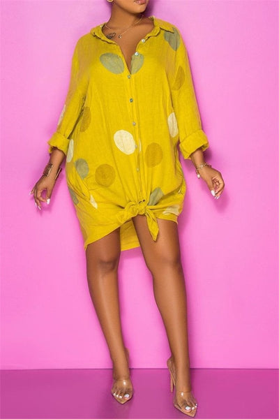 Polka Dot Printed Shirt Dress