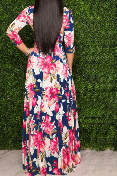Flower Printed Maxi Dress With Belt