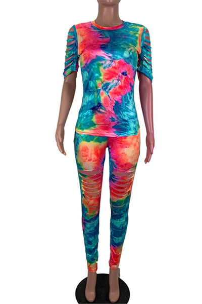 Tie Dye Distressed Top& Pants Sets