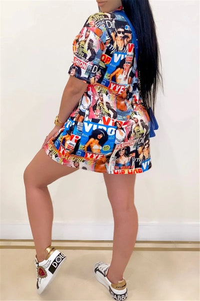 Casual Graffity Printed Mini Dress