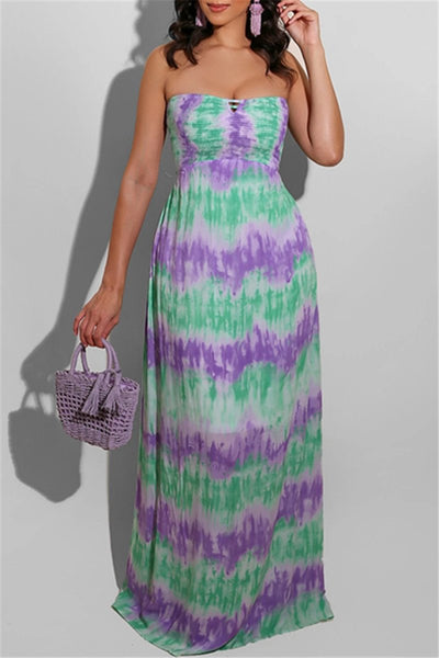 Tie Dye Smocked Tube Dress