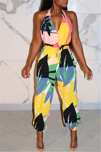 Printed Open Back Bandage Jumpsuit