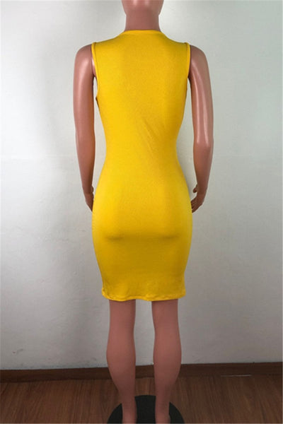 Solid Color Round Collar Bodycon Dress