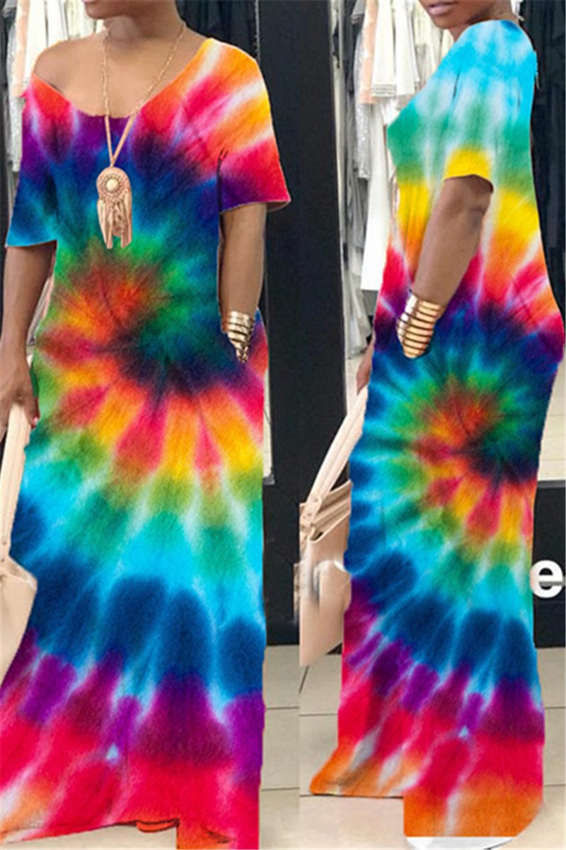 Casual Tie Dye Maxi Dress