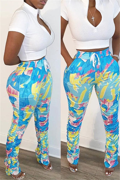 Solid Color Top& Printed Pants Sets