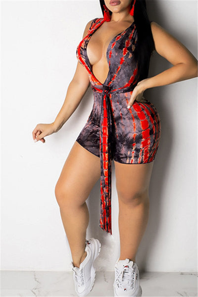 V Neck Printed Wrap Romper