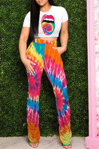 Tie Dye Top& Ruched Pants Sets