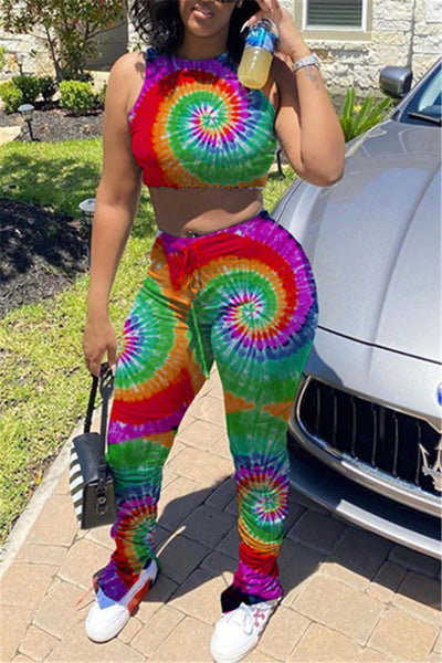 Tie Dye Tank& Ruched Pants Sets