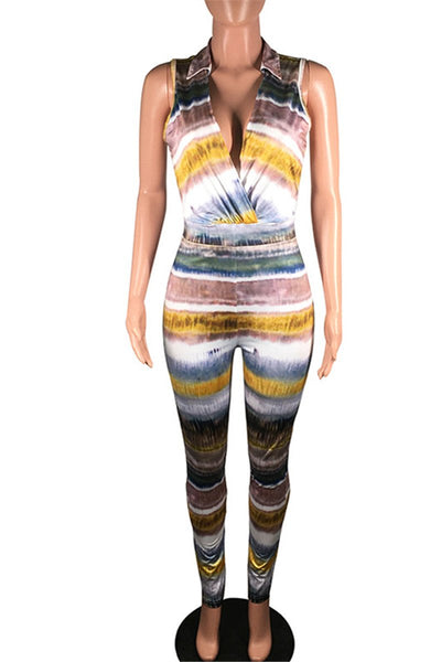 Tie Dye V Neck Bodycon Jumpsuit