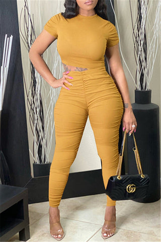 Solid Color Bodycon Ruched Sets