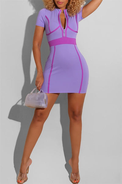 Color Splicing Zipper Mini Dress