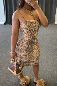 Leopard Printed Cami Bodycon Dress