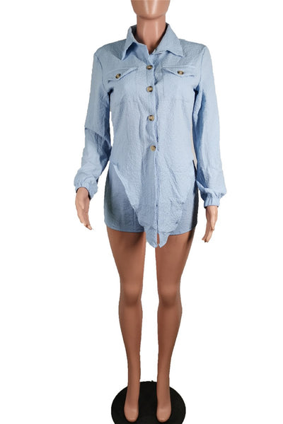 Solid Color Wrap Shirt& Shorts Sets