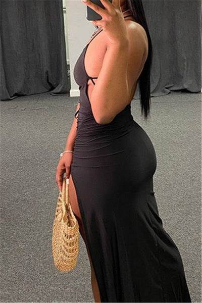 Solid Color Open Back Split Dress