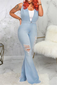 Distressed Denim Flare Jumpsuit