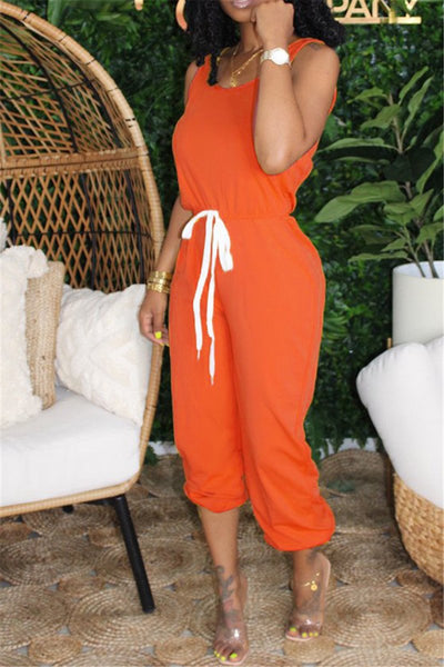 Casual Solid Color Drawstring Jumpsuit