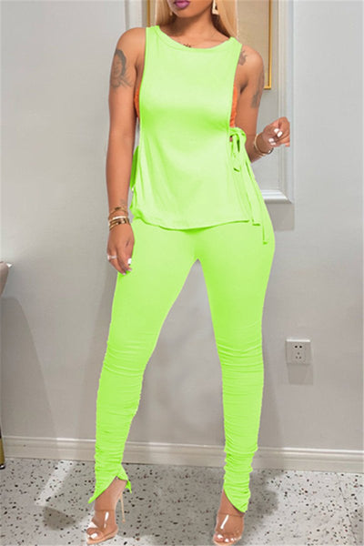 Solid Color Bandage Top& Pants Sets