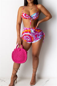 Printed Drawstring Swimwear Sets