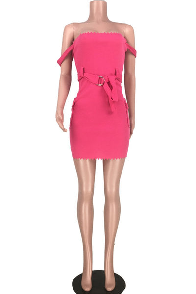 Solid Color Tube Pocket Dress With Belt