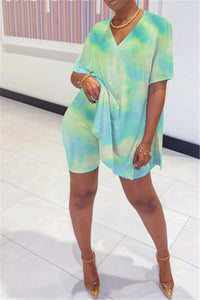 Tie Dye Split Top& Shorts Sets