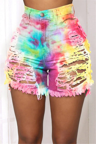 Tie Dye Distressed Denim Shorts