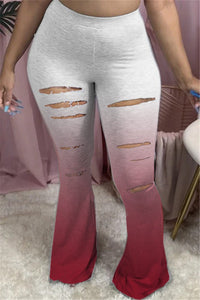 Color Changing Distressed Flare Pants