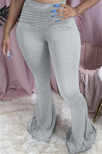 Solid Color Waist Ruched Flare Pants