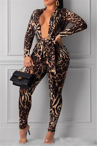 Leopard Printed Jacket& Pants Sets