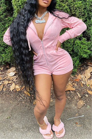 Solid Color Hooded Zipper Romper