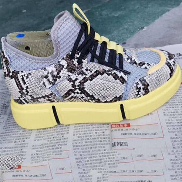 Color Splicing Snakeskin Platform Shoes