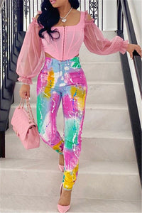 Tie Dye High Waist Denim Pants