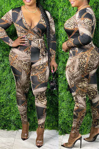 Chain Leopard Printed Jumpsuit